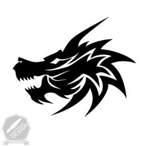 طرح سیاه و سفید اژدها