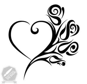 طرح سایه و سفید قلب