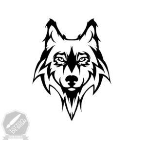 طرح سیاه و سفید گرگ