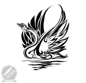 طرح سیاه و سفید قو