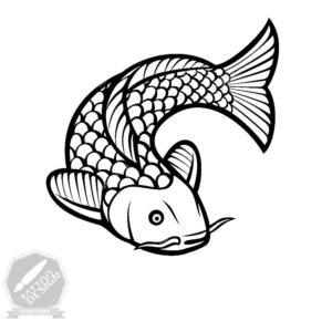 طرح سیاه و سفید ماهی برای تاتو